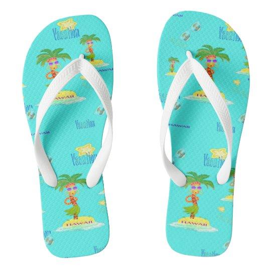 Hula Palm (vacation pattern) flip-flops Thongs