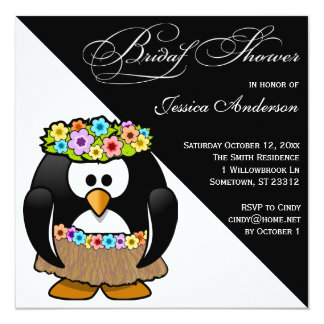Hula Penguin Bride Bridal Shower Invite