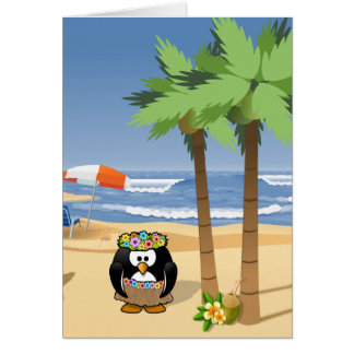 Hula penguin on vacation cartoon illustration card