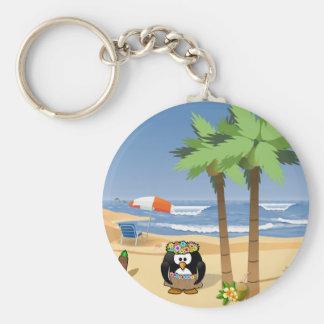 Hula penguin on vacation cartoon illustration key chains
