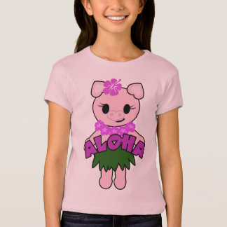 Hula Piggy Girls Baby Doll (Fitted) T-Shirt