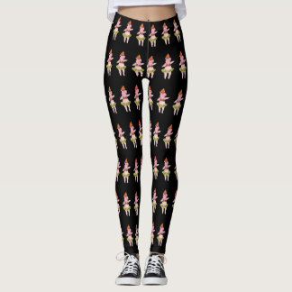 Hula Pigs on Black Leggings