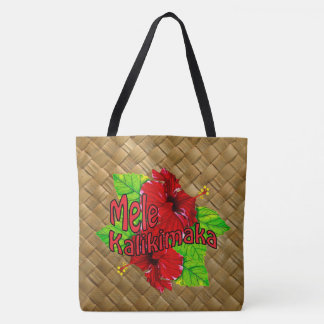 Hula Red Hibiscus Mele Kalikimaka Christmas Bag