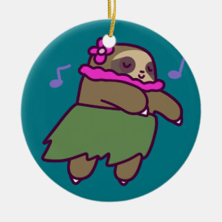 Hula Sloth Ceramic Ornament
