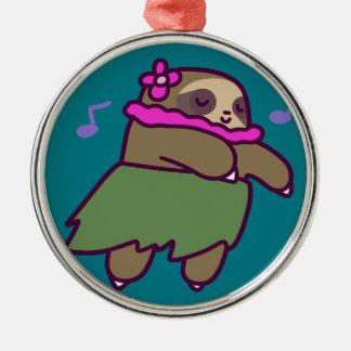 Hula Sloth Metal Ornament