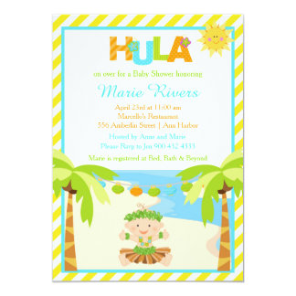 Hula Tropical Boy Baby Shower Card