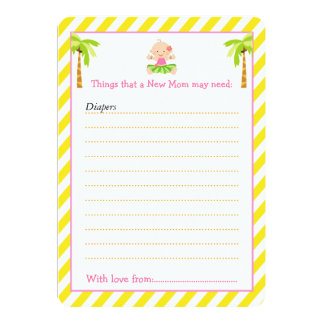 Hula Tropical Girl Advice List for New Moms Card