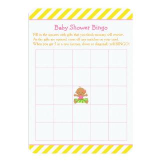 Hula Tropical Girl Baby Shower Bingo Card