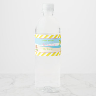 Hula Tropical Girl Baby Shower Water Bottle Label