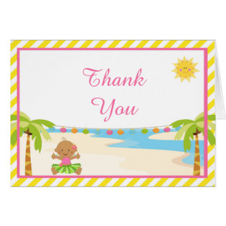 Hula Tropical Girl Baby Thank You Card