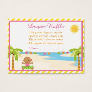 Hula Tropical Girl Diaper Raffle Business Card