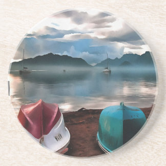 Hulls of Boats And Marmaris Winter Seascape Beverage Coasters