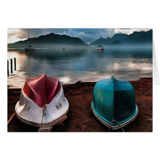 Hulls of Boats And Marmaris Winter Seascape Card