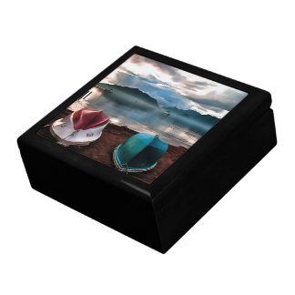 Hulls of Boats And Marmaris Winter Seascape Large Square Gift Box