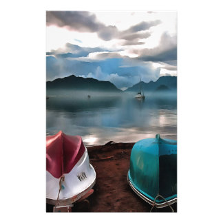 Hulls of Boats And Marmaris Winter Seascape Stationery