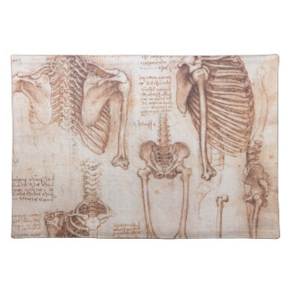 Human Anatomy Skeletons by Leonardo da Vinci Placemat