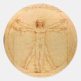 Human Anatomy, Vitruvian Man by Leonardo da Vinci Classic Round Sticker