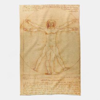 Human Anatomy, Vitruvian Man by Leonardo da Vinci Tea Towel