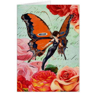 Human-Animal Hybrid Butterfly Woman with Roses Card