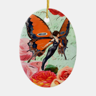 Human-Animal Hybrid Butterfly Woman with Roses Ceramic Ornament