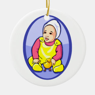 human baby with chick blue oval yellow.png christmas ornament