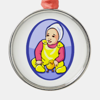 human baby with chick blue oval yellow.png ornaments