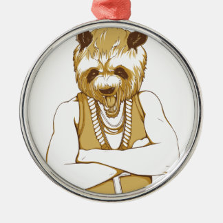 human bear with tongue metal ornament