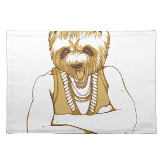 human bear with tongue placemat