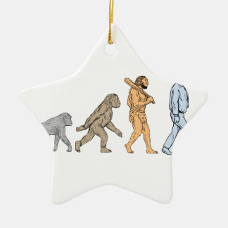 Human Evolution Walking Drawing Ceramic Star Decoration