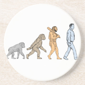 Human Evolution Walking Drawing Coaster