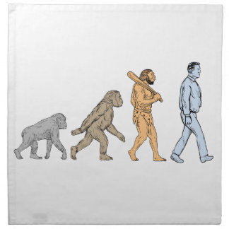 Human Evolution Walking Drawing Napkin