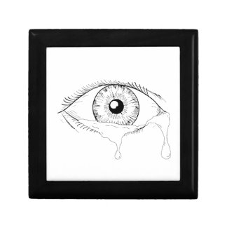 Human Eye Crying Tears Flowing Drawing Gift Box
