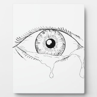 Human Eye Crying Tears Flowing Drawing Plaque