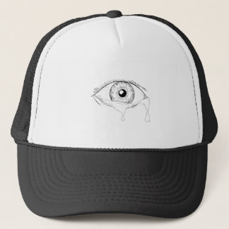 Human Eye Crying Tears Flowing Drawing Trucker Hat