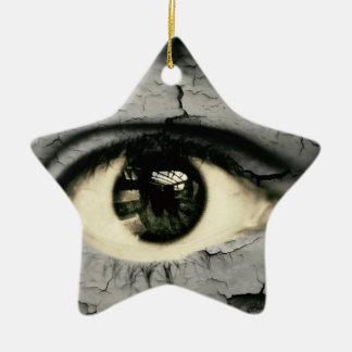 Human eye serrounded by Peeling skin Ceramic Star Decoration