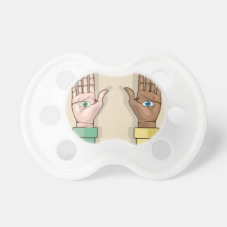 Human hands with eyes Vector Baby Pacifiers