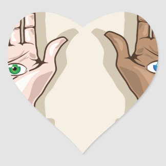 Human hands with eyes Vector Heart Sticker