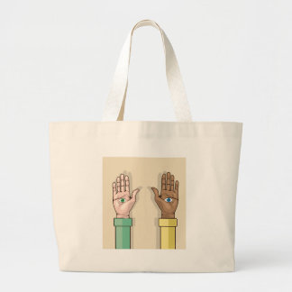 Human hands with eyes Vector Jumbo Tote Bag