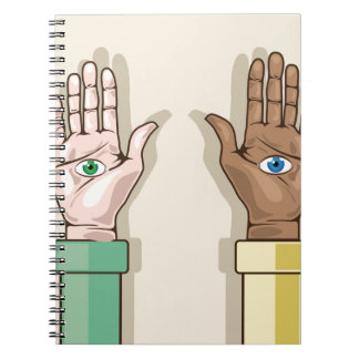 Human hands with eyes Vector Note Books