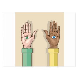 Human hands with eyes Vector Postcard