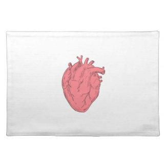 Human Heart Anatomy Drawing Placemat