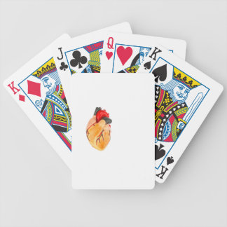 Human heart model on white background bicycle playing cards