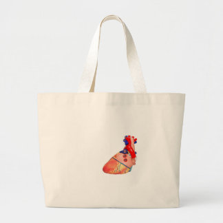 Human heart model on white background large tote bag