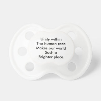 Human race unity baby pacifiers