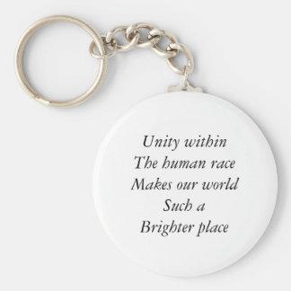 Human race unity basic round button key ring