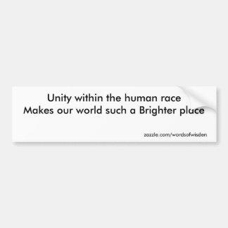 Human race unity bumper sticker