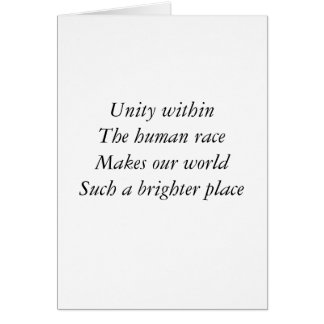 Human race unity greeting cards