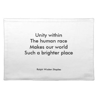 Human race unity cloth placemat