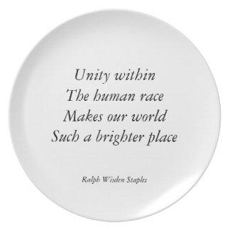 Human race unity dinner plate