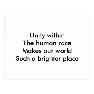 Human race unity post cards